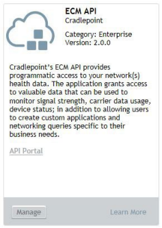 Figure 1:1. ECM API Applications tile